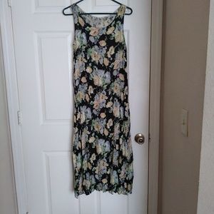 Reversible black and yellow floral midi dress